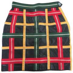 Moschino Zipper Plaid Leather Mini Skirt