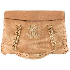 Roberto Cavalli Women's Gold Metallic Leather Shoulder Bag