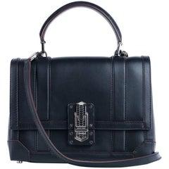 Roberto Cavalli Womens Solid Black Leather Satchel Shoulder Bag