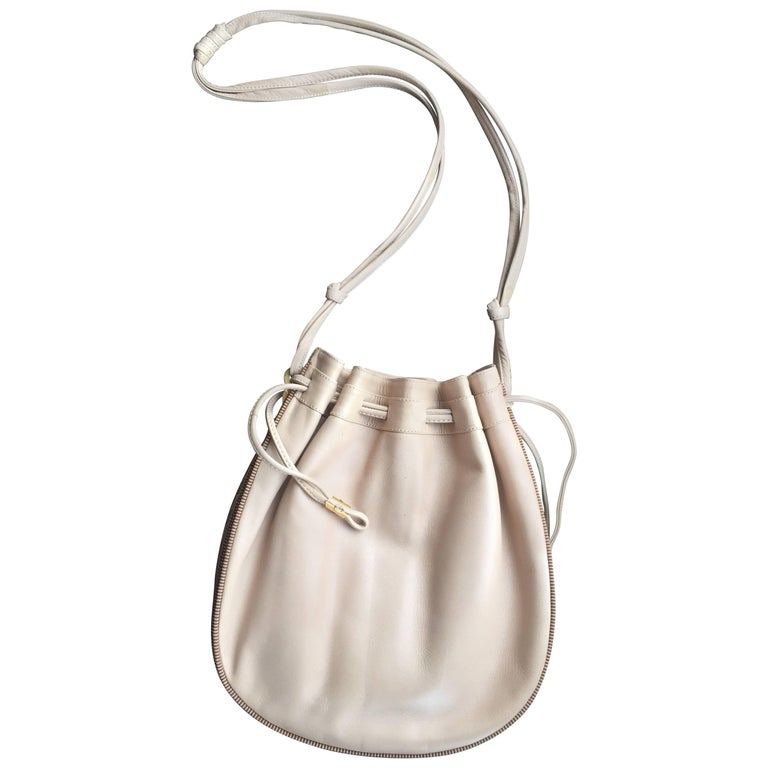Tan Leather Drawstring Bucket Bag