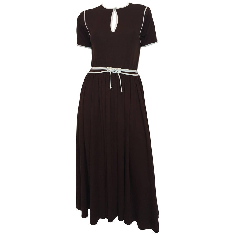 1970s Donald Brooks Brown Poly Dress With White Piping