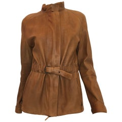 Burberry Possum Camel Colored Leather Jacket