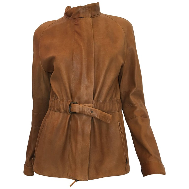 Burberry Possum Camel Colored Leather Jacket 1