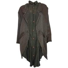1980s Marithe + Francois Girbaud Oversized Grey Jacquard Jacket & Shirt Set