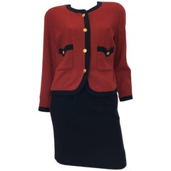 1990s Chanel Boutique Classic Wool Burgundy & Navy Skirt Suit