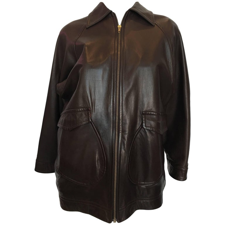 1990s Isaac Mizrahi Oversized Dark Brown Leather Jacket with Built in Backpack