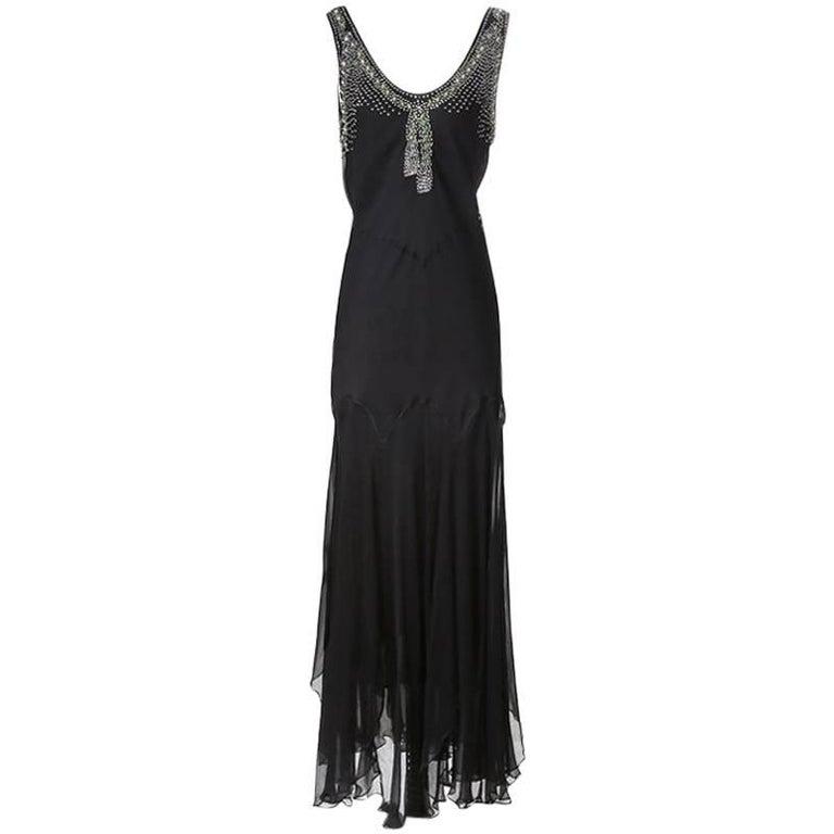 John Galliano for Christian Dior Bias Cut Chiffon Dress with Rhinestone Neckline