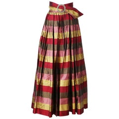 Todd Oldham Silk Taffeta Striped Skirt