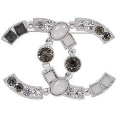 Chanel Grey & Silver CC Logo Pin