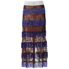 Dolce & Gabbana Lace Skirt with Beaded Fringe