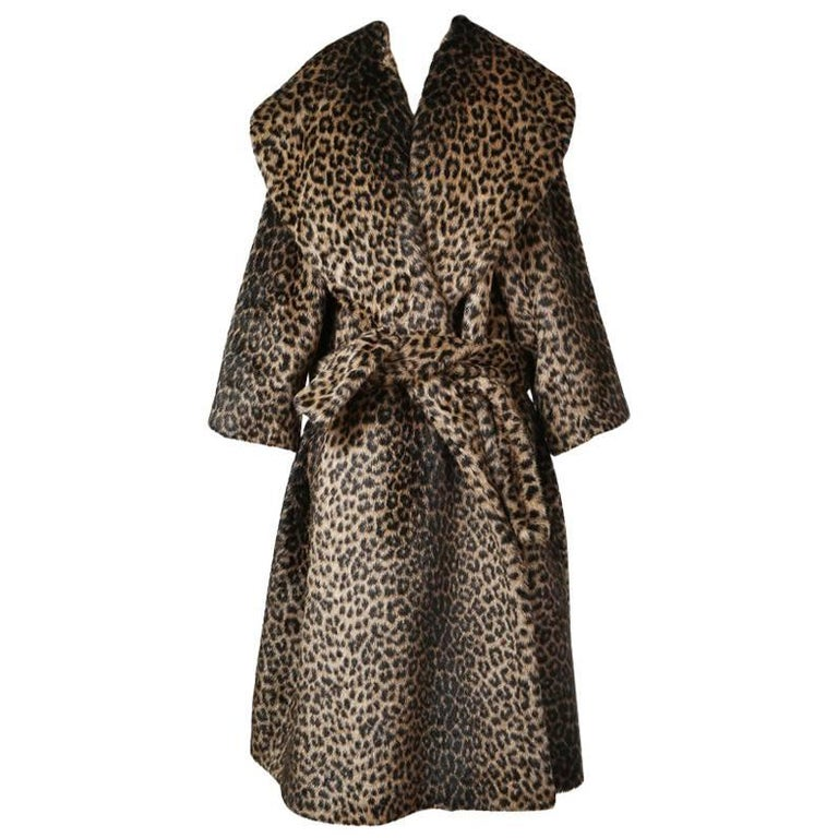 Alaia Faux Leopard Runway Coat with Belt and Oversized Collar circa 1990s 1