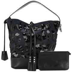 Louis Vuitton Black Navy Blue Sequin Evening Top Handle Satchel Shoulder Bag