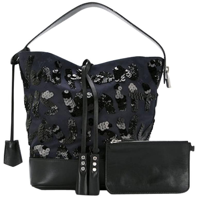 Louis Vuitton Black Navy Blue Sequin Evening Top Handle Satchel Shoulder Bag For Sale
