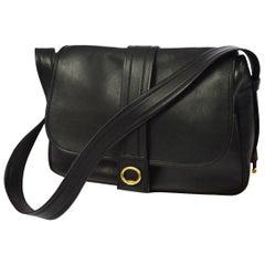 Hermes Black Leather Gold Fold Over Flap Saddle Shoulder Bag with Dust Bag