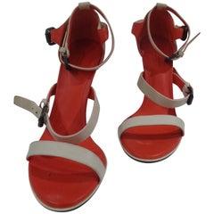 Bottega Veneta beije and orange leather sandals