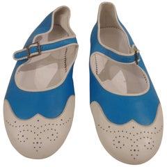 Chanel white and blu ballerina