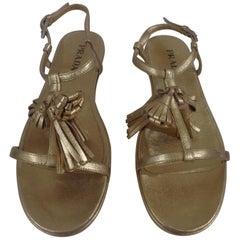 Prada gold tone leather sandals