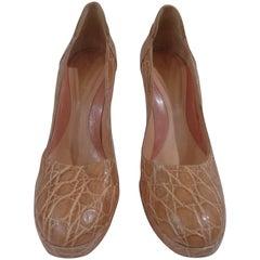 Sergio Rossi pink leather croco stamp high heel decollete