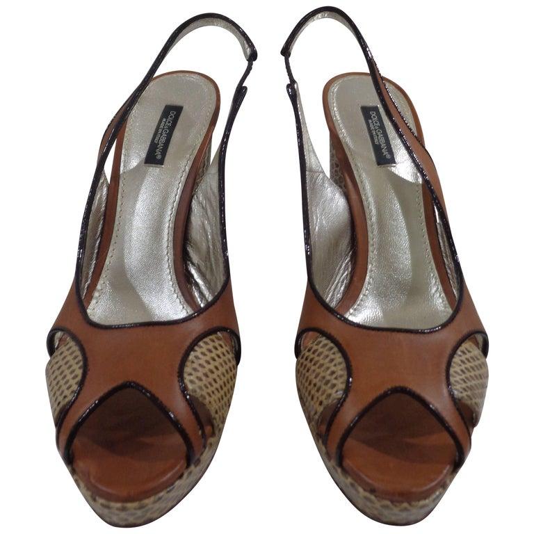 Dolce & Gabbana brown python skin sandals 1