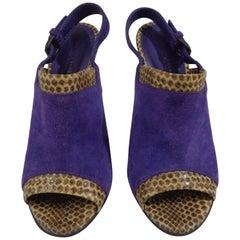 Bottega Veneta python skin purple velvet high heels unworn sandals