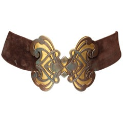 1970s Yves Saint Laurent wide brown suede belt with butterfly buckle