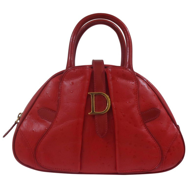 Christian Dior red leather ostrich stamp handbag