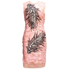 Emilio Pucci pink lace cocktail dress covered with wide sequins