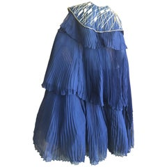 Bernard Perris Paris Dramatic Navy Blue Pleated Cape