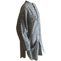 Yohji Yamamoto Vintage Gray Plaid Shirt Dress with Sawtooth Pocket