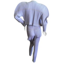 "Issey Miyake for Bergdorf Goodman 1990's Pleated Trompe l'oeil ""Denim"" Suit"