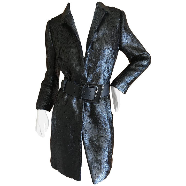 Richard Tyler Couture Vintage Black Sequin Evening Coat