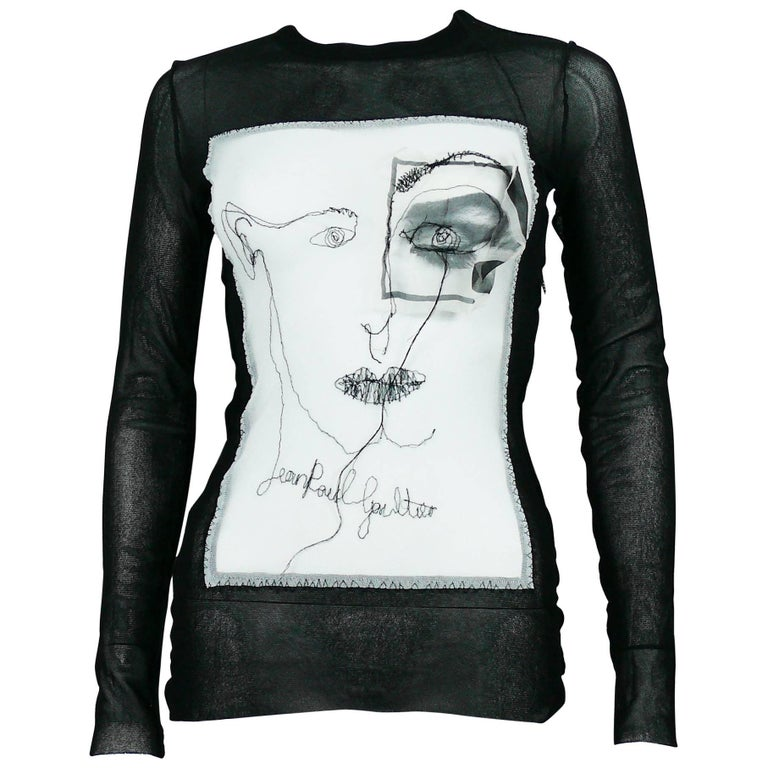 Jean Paul Gaultier Maille Femme Portrait and Eye Applique Mesh Top Size M