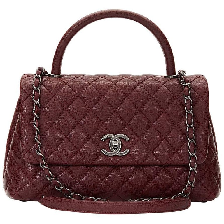 8bd42d6481de 2016 Chanel Burgundy Quilted Caviar Leather Small Coco Handle at 1stdibs