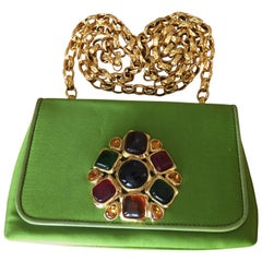 Chanel Green Satin Clutch with Gripoix Ornament and Quilted Chunky Gold Chain