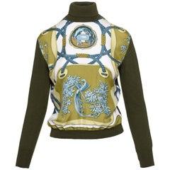 "1970s HERMÈS PARIS Print Satin and Wool ""Dolcevita"" Sweater"