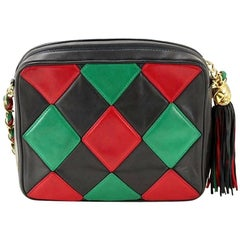 Vintage CHANEL rare red, green and navy diamond patchwork stitch camera bag.