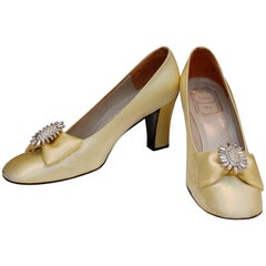 Christian Dior yellow satin jewel pumps
