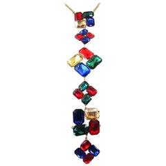 Fabulous Faux Multi Gem Square Cut Statement Drop Necklace