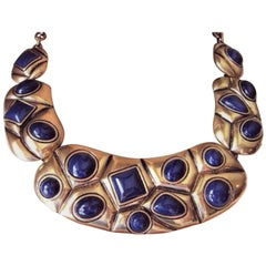Oscar de la Renta Signed Faux Blue Lapis Statement Necklace