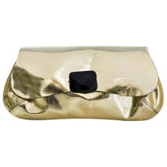 Anya Hindmarch Gold Glazed Leather Clutch Bag