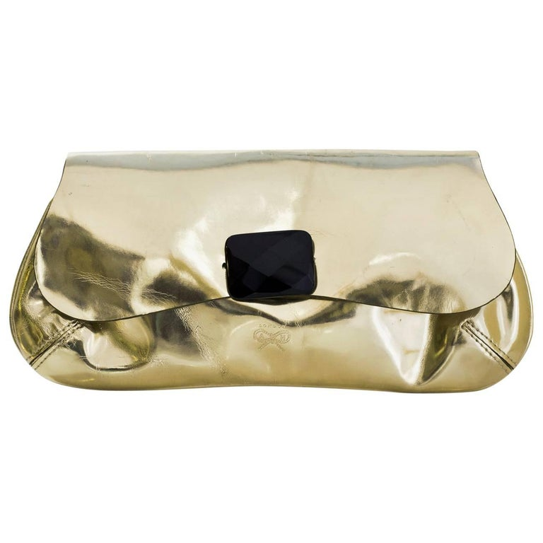 Anya Hindmarch Gold Glazed Leather Clutch Bag For Sale