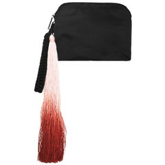The Row Black Satin and Ombre Tassel Clutch Bag rt. $1,850