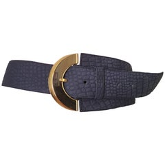 Dior Blue Leather Waist Belt Size Medium.