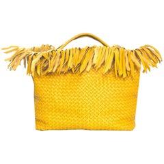 Bottega Veneta Mustard Leather & Wool Limited Ed Intrecciato Tote Bag