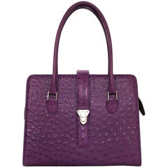 Manolo Blahnik Purple Ostrich Tote Bag with DB