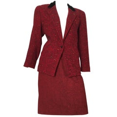 Guy Laroche 1970s Herringbone Red Wool Skirt Suit Size 6.