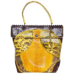 Bottega Veneta Yolk, Cigar & Truffle Tri-Color Patchwork Lizard Tote Bag