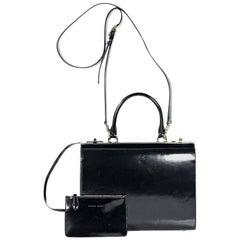 Black Simone Rocha Patent Leather Briefcase