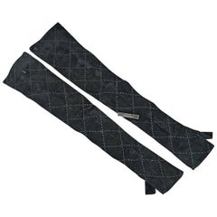 Black Chanel Long Suede Fingerless Gloves