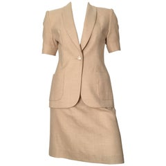 Givenchy Couture 1990s Tan Jacket & Skirt Set Size 6.